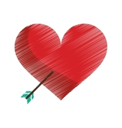 Drawing red heart with arrow love symbol vector