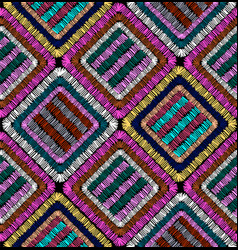 embroidery geometric seamless pattern patchwork vector image