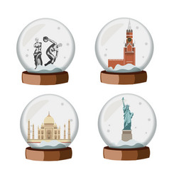 Famous european traditional in snow globe vector