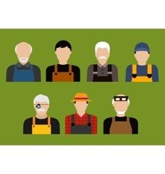 Farmer mechanic jeweler and tailor profession vector