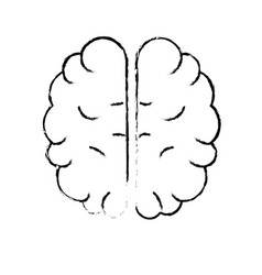 Figure creative brain with idea over white vector