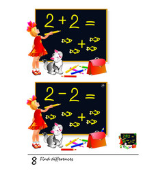 Find 8 differences girl studying math logic vector