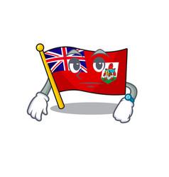 Flag bermuda cartoon on waiting pole vector