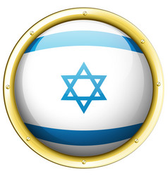 Flag of israel on round badge vector