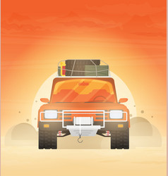 flat design car in motion on a safari trip vector image