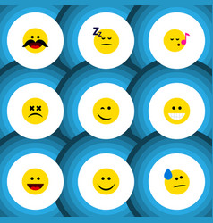Flat icon gesture set of grin asleep tears and vector