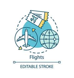 Flights concept icon plane travel idea thin line vector