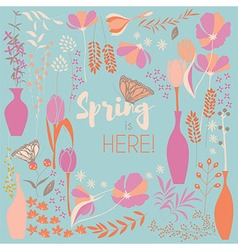 Floral spring card design with hand drawn flowers vector image