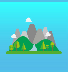 forest and mountain landscape in flat style vector image