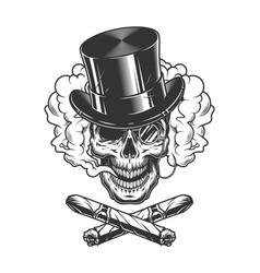 gentleman skull wearing cylinder hat vector image