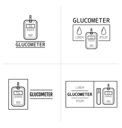 Glucometer test strip Label flat icon medical vector