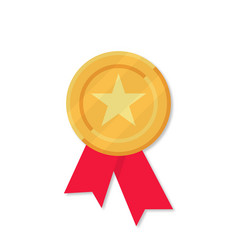 gold medal with red ribbons in flat style on vector image