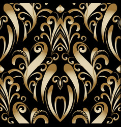 Gold vintage luxury floral seamless pattern vector