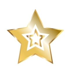 Golden Five Pointed Star Icon vector image