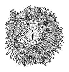 Graphic dinosaur eye and ferns vector