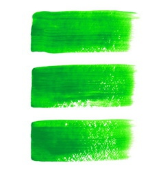 Green acrylic painted brush stroke set vector image