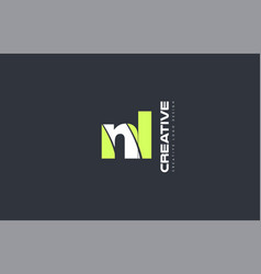 Green letter nl n l combination logo icon company vector