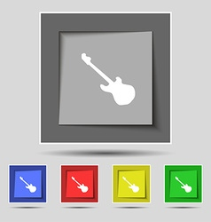 Guitar icon sign on original five colored buttons vector