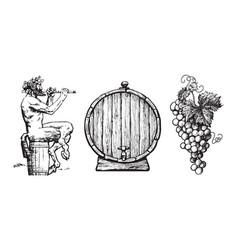 Hand drawn elements for wine design satyr barrel vector