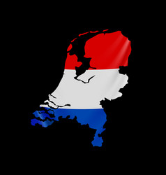 hanging netherlands flag in form map vector image