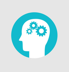 head with gears brain activity icon flat style vector image