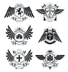 Heraldic coat of arms decorative emblems isolated vector