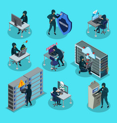 Isometric hacking activity elements set vector