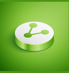 Isometric share icon isolated on green background vector