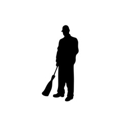 Janitor male silhouette on white background vector