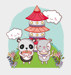 Japan food and animals kawaii vector