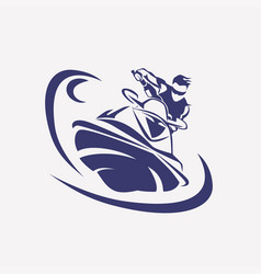 Jet ski stylized symbol rider on jet ski vector