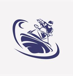 Jet ski stylized symbol rider on ski vector
