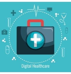 kit first aid digital healthcare design icons vector image