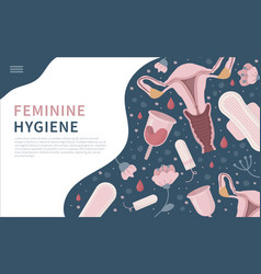 Landing page with feminine hygiene products blue vector