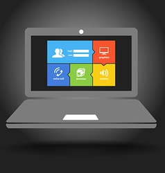 Laptop display with modern color tile interface vector image