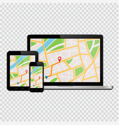 Laptop tablet and mobile phone mockup with gps vector