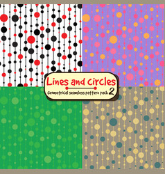 lines and circles vertical seamless pattern pack vector image