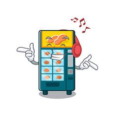 Listening music bakery vending machine in a mascot vector