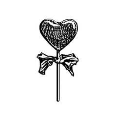 Lollipop sketch heart shaped candy on stick vector