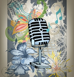 microphone hand drawn design card vector image
