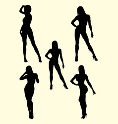 muscle women silhouette vector image