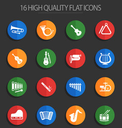 Musical instruments 16 flat icons vector