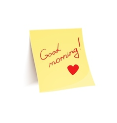 Note to wish good morning glued to wall vector image