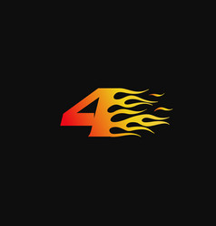 Number 4 burning flame logo design template vector