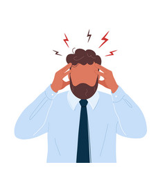 Office worker with headache touching his head vector