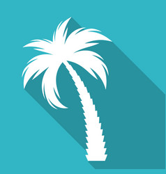 palm tree silhouette icon with long shadow vector image