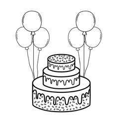party sweet cake with balloons helium vector image