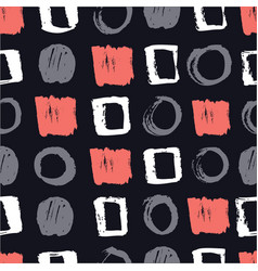 pattern with circles and squares living coral vector image