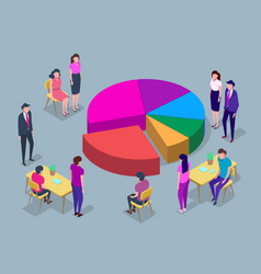 people in a team build a pay chart interact vector image