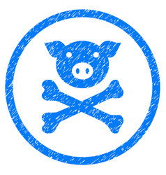 Pig death rounded grainy icon vector
